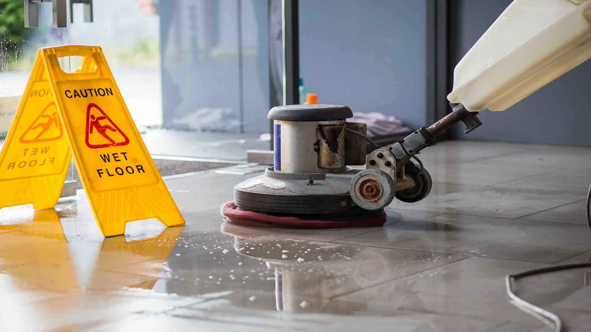 Machine Cleaning The Floors-Floor Cleaning-Commercial Cleaning Greensboro High Point NC-True Clean Experience-2307 West Cone Blvd Suite G, Greensboro NC 27408